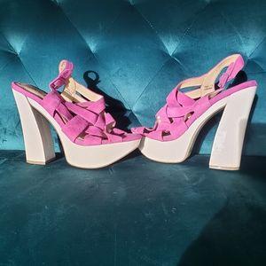 Purple leather upper platform heels